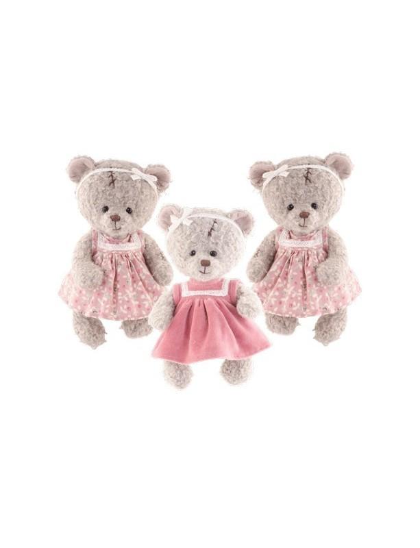Minkštas žaislas su rožine suknele ELEONORA FLOWER 25 cm