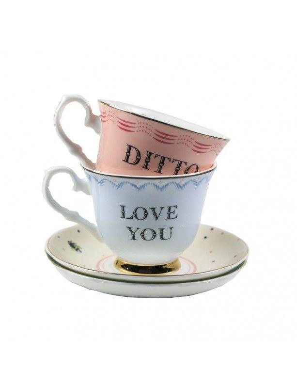 """Puodelių su lėkštele rinkinys """"I Love You Ditto"""""""